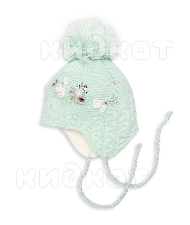 Купить со скидкой Детская шапка Pilguni Цветы 23-720 бирюзовый