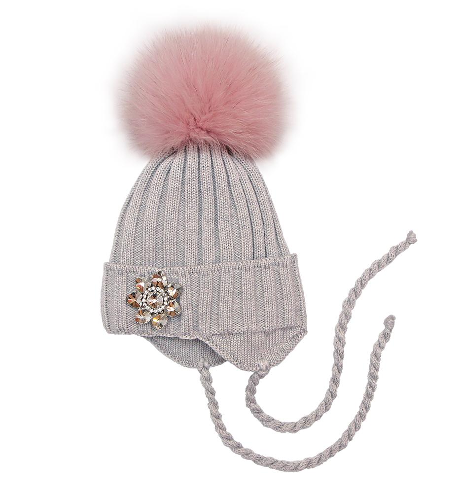 Купить со скидкой Детская шапка Pilguni Цветы I серый